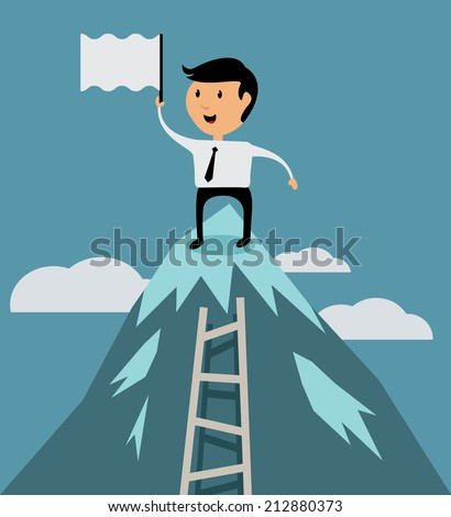 Successful businessman on top of career concept, flat design vector illustration - stock vector
