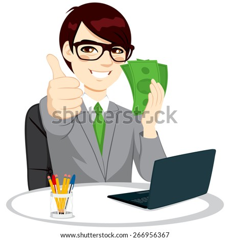 Successful businessman with green banknote money fan making thumbs up gesture sitting on office desk with laptop - stock vector