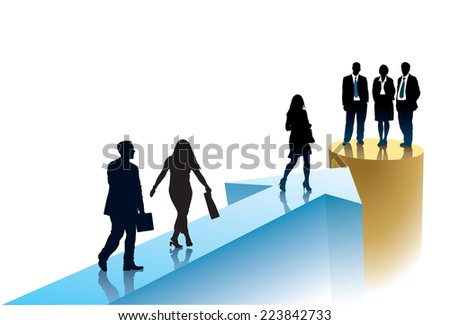 Successful businesspeople are going to one target - stock vector