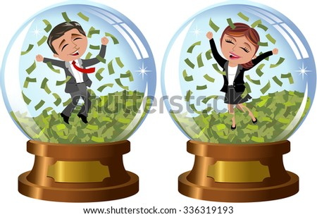 Successful businesswoman and businessman exulting and jumping under money rain inside snowglobe isolated - stock vector