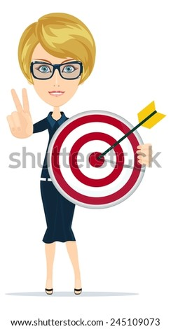 Successful businesswoman and teacher showing victory sign, holding a a target with arrow. Stock Vector illustration - stock vector