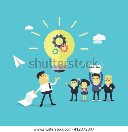 Successful design concept great idea design flat. Businessman with a piece of paper in his hand creates a new idea. Business  work employee happily support colleague with banner. Vector illustration - stock vector