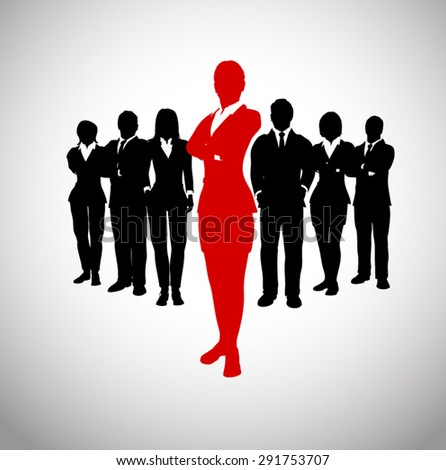Successful leader of a team. A team of executives led by a great and successful leader. - stock vector