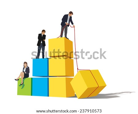 Successful people are on a large graph; one of the businessmen is still working to maintain high position. - stock vector