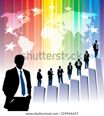 Successful people are standing on a large graph, world map in the background. - stock vector