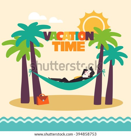 Successful smiling happy businessman relaxing in hammock on the beach. Break, holidays time, vacation, recreation, travel and relaxation vector design. Funny summer landscape background - stock vector