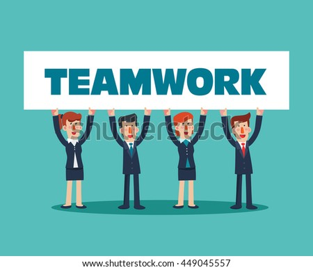 Successful, smiling, young, happy business man and business woman with a white placard. Communication, assistance, partnership, cooperation, collaboration and teamwork in business vector concept - stock vector