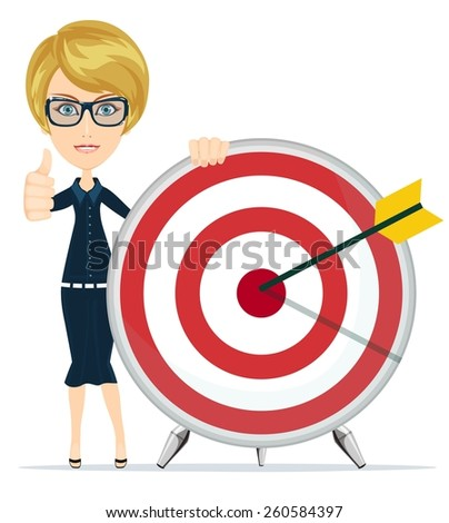 Successful student and teacher showing victory sign, holding a a target with arrow. Stock Vector illustration - stock vector