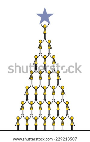 Successful teamwork concept, metaphor to business people climbing each other until they can go high and reach to the star. Simple character design.  - stock vector