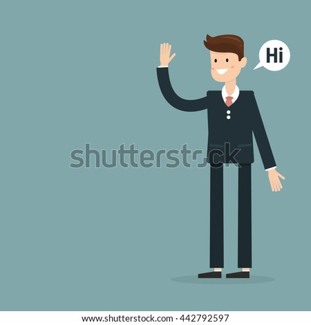 Successful young businessman character saying hi with speech bubble, front view. Business, job, professional, consultant concept. EPS10 vector illustration - stock vector