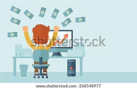 Successful young businessman happy falling the money while sitting infront of his computer with the graph showing the arrow going up increasing in sales. Business growth concept. A contemporary style - stock vector