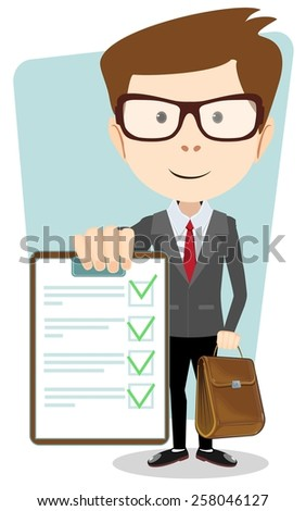 Successful young businessman with an approved, verified documents and briefcase, vector illustration - stock vector