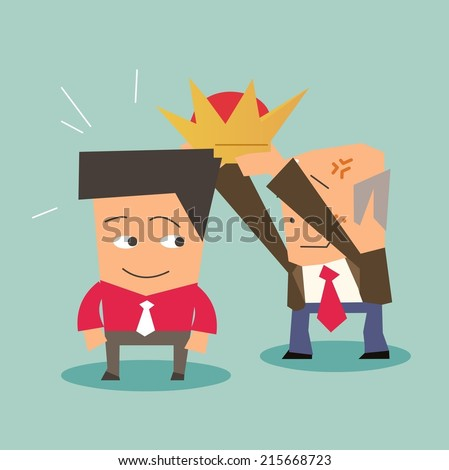 succession of leader in a company. Flat vector illustration - stock vector