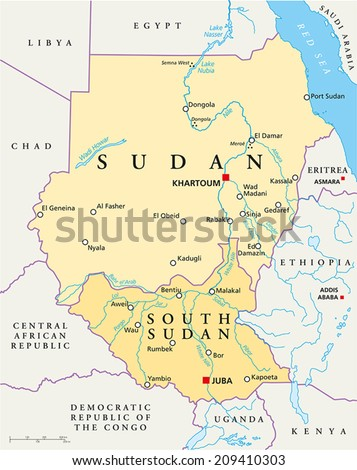 Sudan and South Sudan Political Map with capitals Khartoum and Juba, with national borders, most important cities, rivers and lakes. Vector illustration with English labeling and scaling. - stock vector
