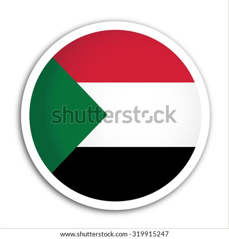 Sudan flag Button Vector - flag icons - stock vector