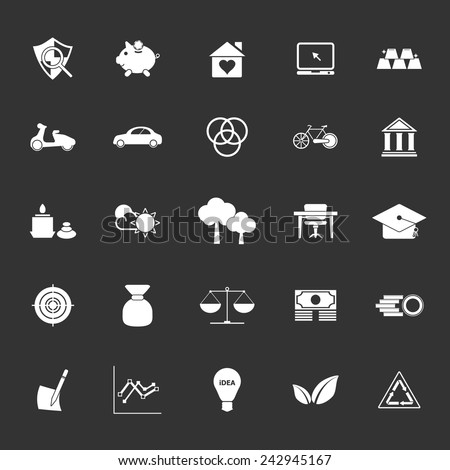 Sufficient economy icons on gray background, stock vector - stock vector