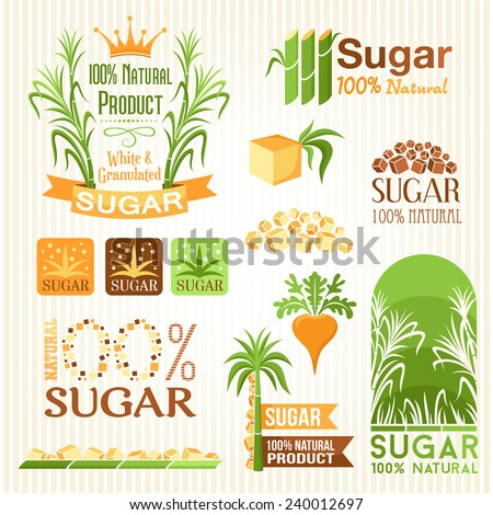 Sugar labels, symbols, emblems and icons for design - stock vector