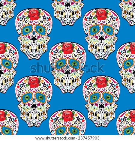 Sugar skull vector seamless pattern on background. Illustration. - stock vector