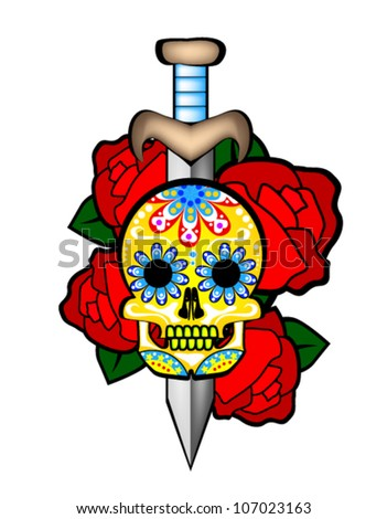 Sugar Skull with roses - stock vector