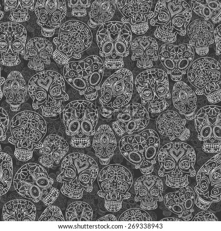 sugar skulls decorative seamless pattern, vector illustration - stock vector