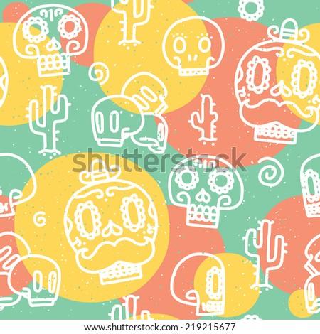 Sugar skulls seamless vector pattern - stock vector