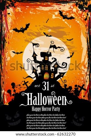 Suggestive Hallowen Party Flyer for Entertainment Night Event - stock vector