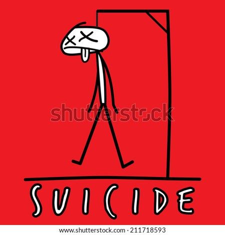 Suicide by Hanging - stock vector