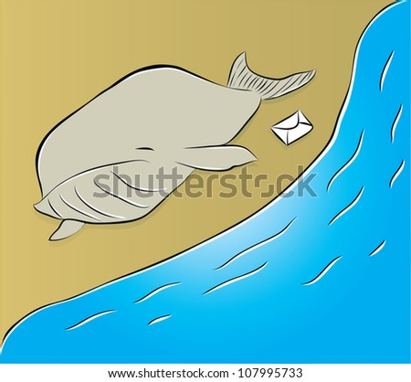 suicide of a whale/whale - stock vector