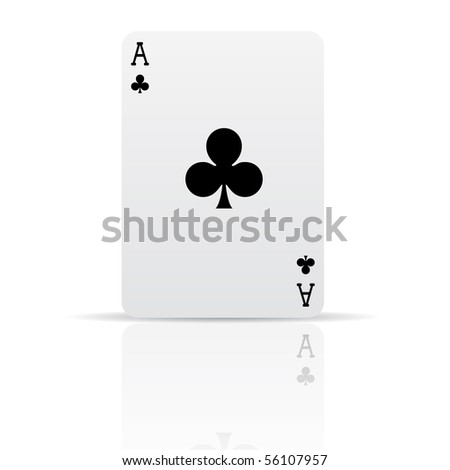 Suit clubs card isolated on white - stock vector
