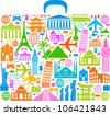 suitcase composed from different travel elements - stock vector
