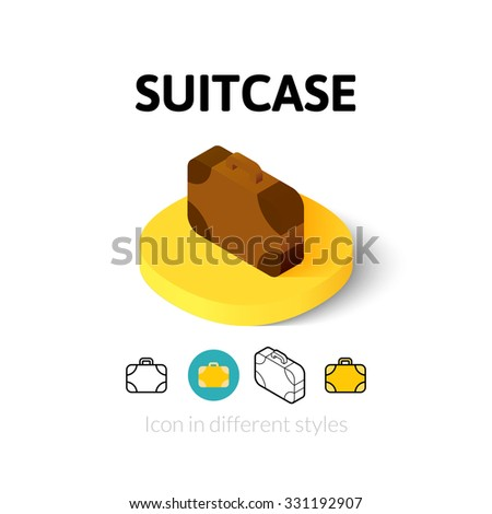 Suitcase icon, vector symbol in flat, outline and isometric style - stock vector