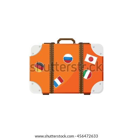 Suitcase in a flat style. Travel bag. Trolley for tourism. Luggage.Vector illustration. - stock vector