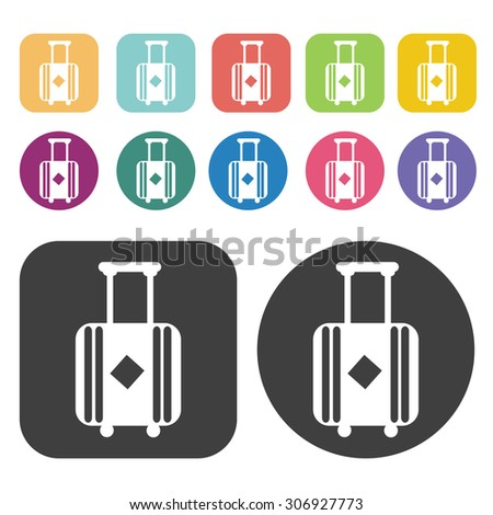 suitcase luggage icons set. Vector Illustration eps10 - stock vector