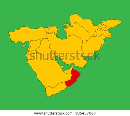 Sultanate of Oman vector map silhouette isolated on Middle east vector map. - stock vector