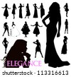 suluety elegant women - stock vector