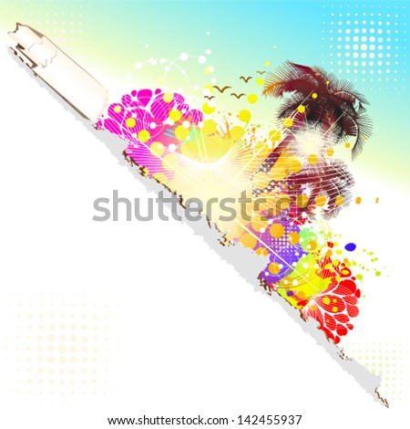 summer abstraction with palm trees - stock vector