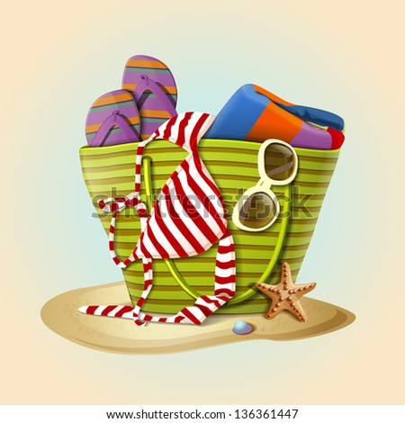 Summer accessories, swimsuit, sun glasses, bag and flip-flops. Vector illustration - stock vector