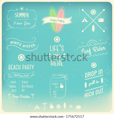 Summer Activities Typography Design Elements - stock vector