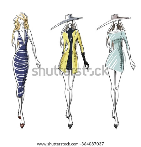Summer and autumn look, fashion illustration - stock vector