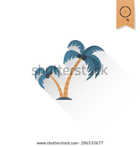 Summer and Beach Simple Flat Icon. Vector - stock vector