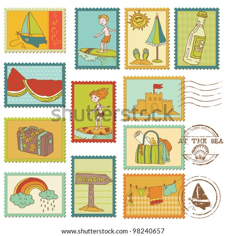 Summer and Sea elements - Vector stamp collection - stock vector