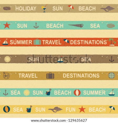 Summer and sea themed banners on beige textured background - stock vector