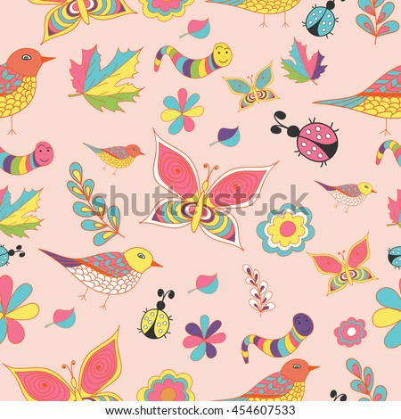 Summer and spring color vector, seamless patterns. Repeating texture. - stock vector