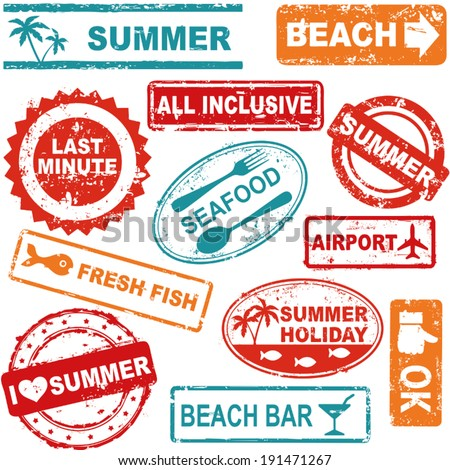 Summer and travel grunge rubber stamp collection - stock vector