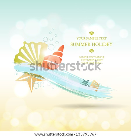 Summer background. Abstract wave with sea shells and stars - stock vector