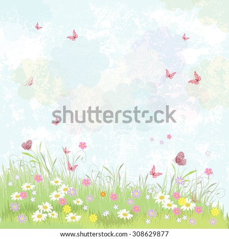 Summer background. floral meadow with pink butterflies. - stock vector