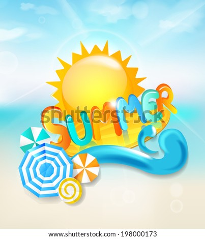 Summer background - inscription summer surf on the wave with the sun and beach umbrellas. Vector. - stock vector