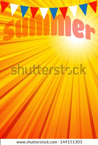Summer Background Leaflet Flyer Poster - The background has a complete circle of rays in the Vector file for you to position the Clipping Mask as you want - stock vector