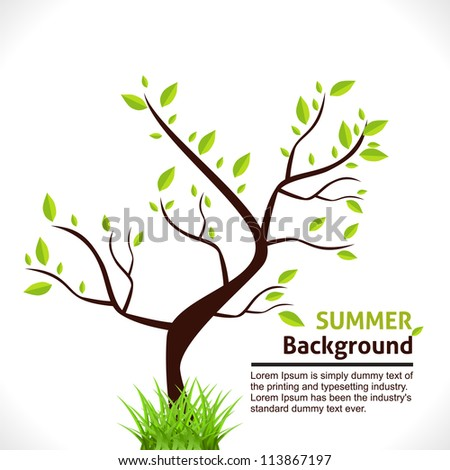 Summer Background of Tree with Green Grass. Vector Design. - stock vector