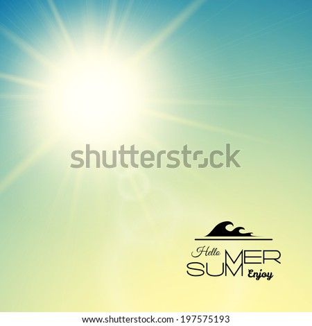 Summer background with a summer sun burst with lens flare, green sunset vector illustration - stock vector
